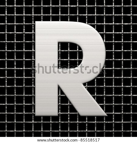 Letter R from metal net alphabet. There is a clipping path - stock photo