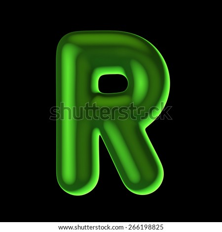 Letter R from round green back light alphabet. There is a clipping path - stock photo