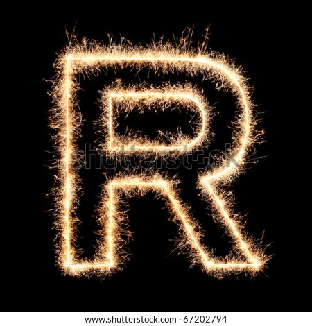 Letter R from sparklers alphabet.Very high resolution image. Happy New Year ! - stock photo