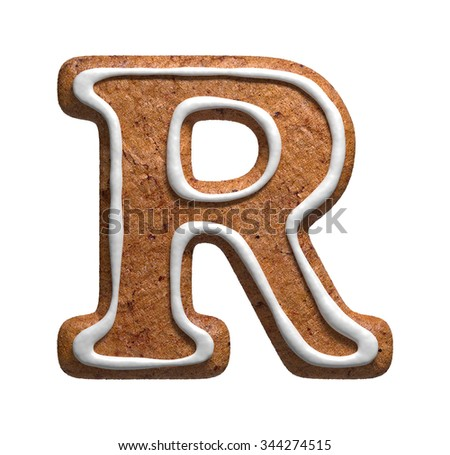 Letter R. Gingerbread font. Christmas cookies alphabet. - stock photo