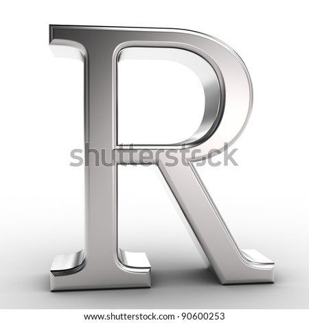 Letter R, isolated on white background.
