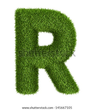 Letter  R isolated photo realistic grass ecology theme on white