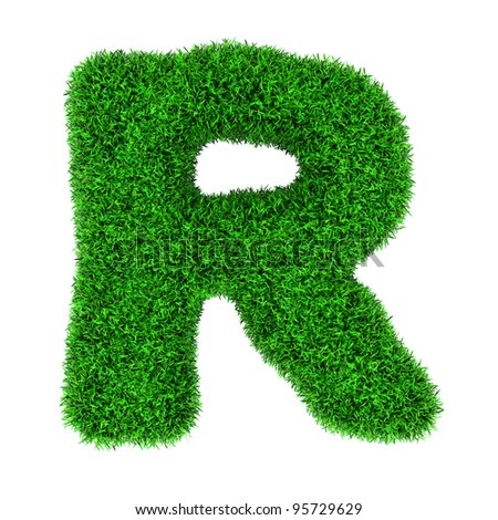 Letter R, made of grass isolated on white background. - stock photo