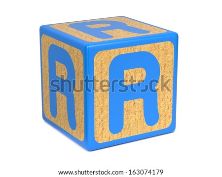 Letter R on Blue Wooden Childrens Alphabet Block  Isolated on White. Educational Concept. - stock photo