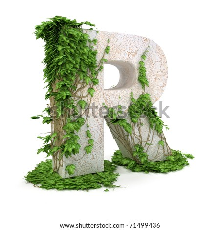 Letter R threads covered with ivy isolated on white background. - stock photo