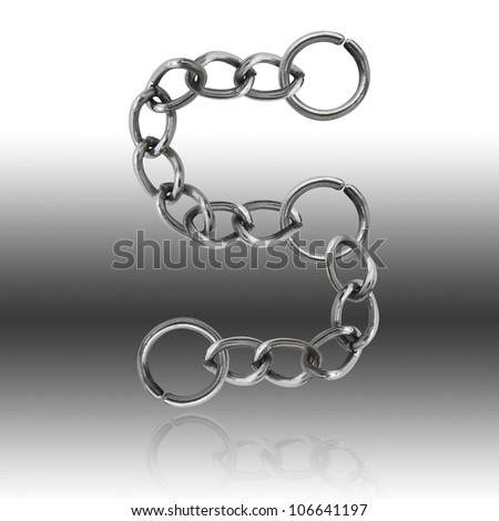 "Letter "" S  "" alphabet chain  (Clipping Path)"