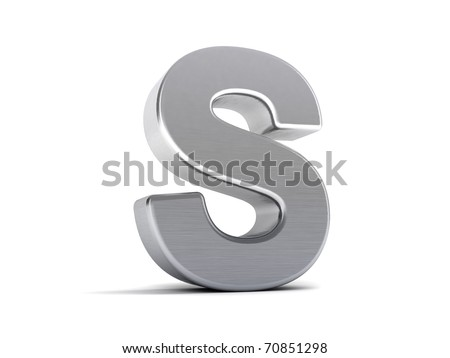 Letter S as a brushed metal 3D object - stock photo