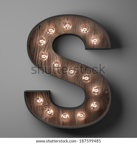 Letter S for sign with light bulbs - stock photo