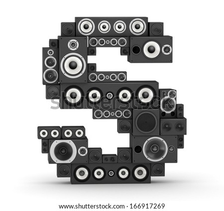 Letter S from black hi-fi speakers sound systems - stock photo