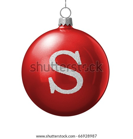 Letter S from cristmas ball alphabet. There is a clipping path - stock photo