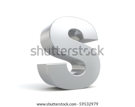 letter S in metal - stock photo