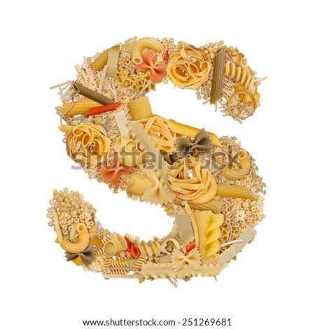 Letter S made from pasta isolated on white - stock photo
