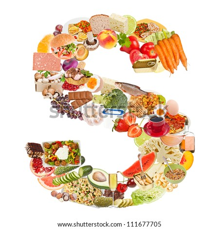 Letter S made of food isolated on white background