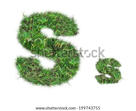 letter S on green grass isolated on over white background