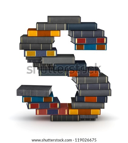 Letter S, stacked from many encyclopedia books in pile - stock photo