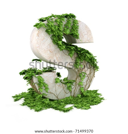 Letter S threads covered with ivy isolated on white background. - stock photo