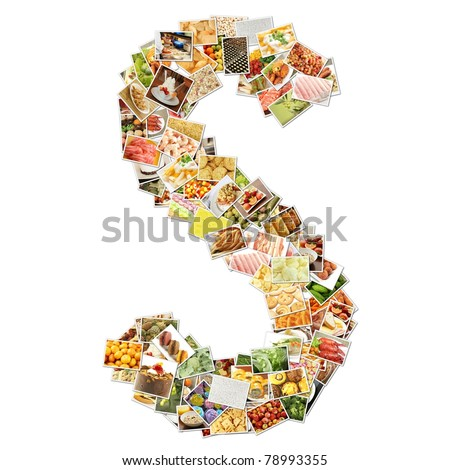 Letter S with Food Collage Concept Art - stock photo