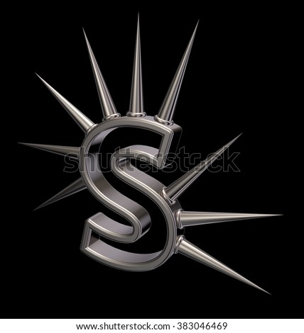 letter s with metal prickles on black background - 3d illustration - stock photo