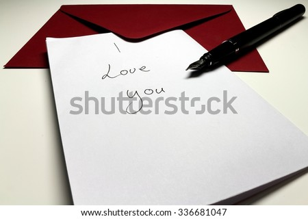 Letter saying i love you pen stock photo royalty free 336681047 letter saying i love you with pen and altavistaventures Gallery