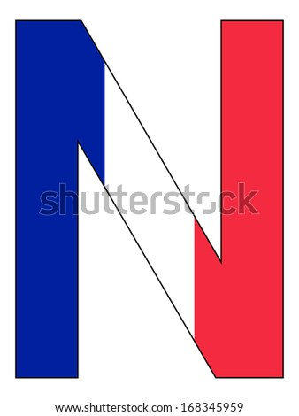 Letter series with flag inside - France
