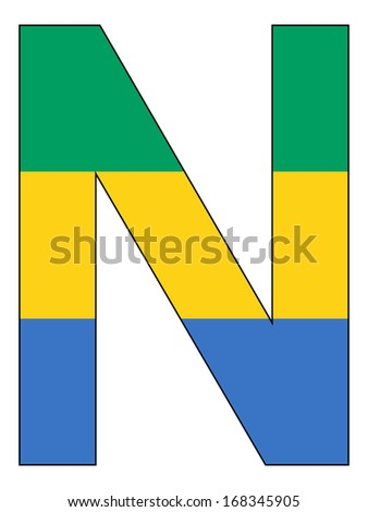 Letter series with flag inside - Gabon