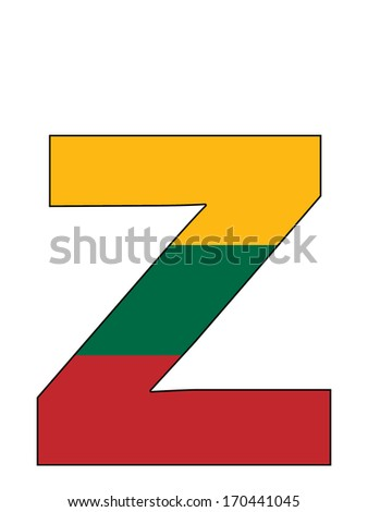 Letter series with flag inside - Lithuania