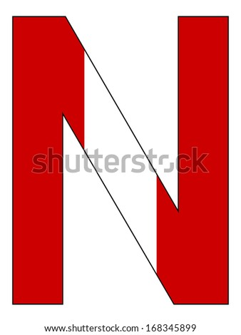 Letter series with flag inside - Peru