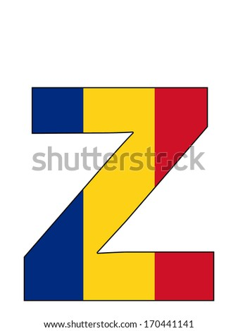 Letter series with flag inside - Romania