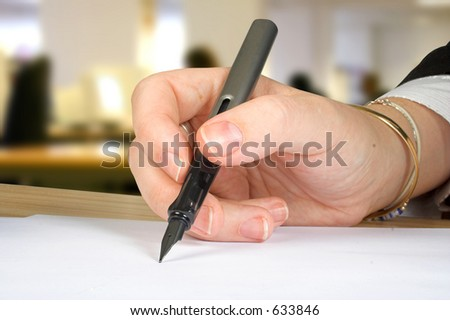 letter signature with an office background - stock photo
