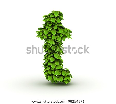Letter  t, alphabet of green leaves, small caps - stock photo