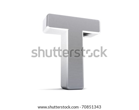 Letter T as a brushed metal 3D object - stock photo