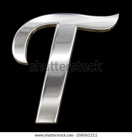 Letter T from chrome solid alphabet isolated on black - stock photo