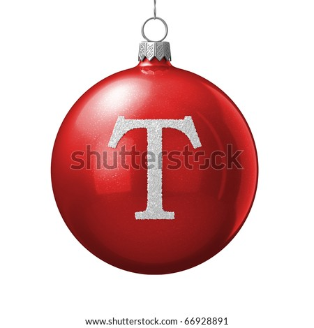 Letter T from cristmas ball alphabet. There is a clipping path - stock photo