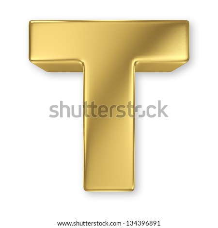Letter T from gold solid alphabet - stock photo