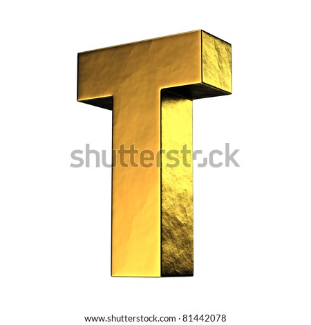 Letter T from gold solid alphabet. There is a clipping path - stock photo