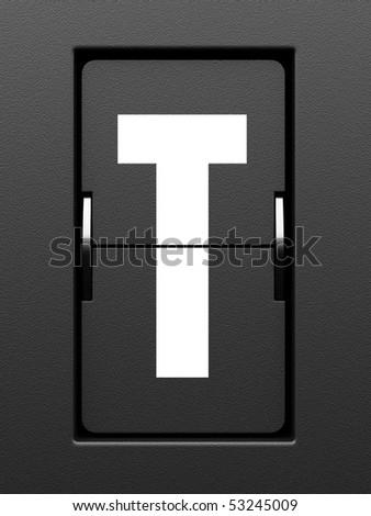 Letter T from mechanical scoreboard alphabet - stock photo