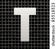 Letter T from metal net alphabet. There is a clipping path - stock photo