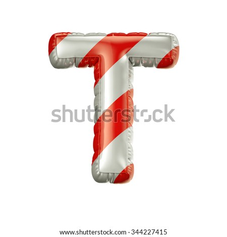 Letter T. Red and white Balloon font isolated on White Background.Birthday alphabet. - stock photo