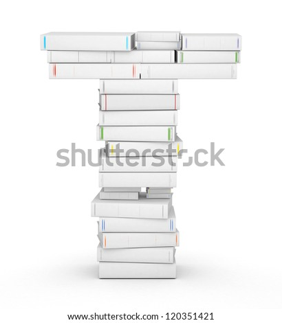 Letter T, stacked from many blank title books in column - stock photo