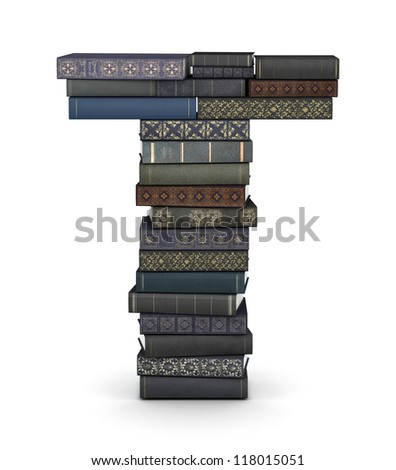 Letter T, stacked from many  books in pile - stock photo