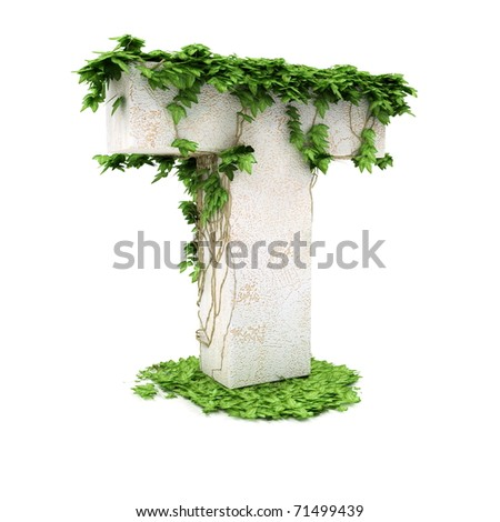 Letter T threads covered with ivy isolated on white background. - stock photo