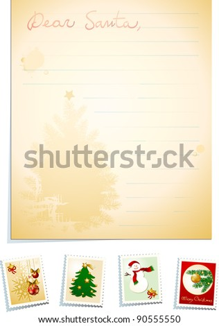Letter to Santa with stamps, vintage background - stock photo