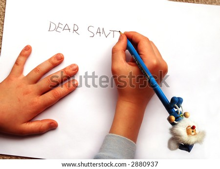 Letter to Santa, written by a little boy with a blue funny pencil - stock photo