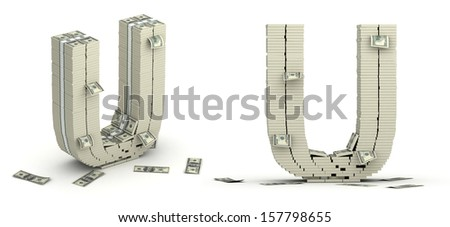 Letter U, alphabet from dollars on white background - stock photo
