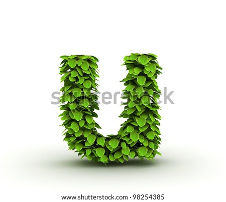 Letter  u, alphabet of green leaves, small caps - stock photo
