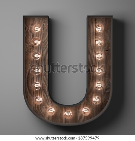 Letter U for sign with light bulbs - stock photo