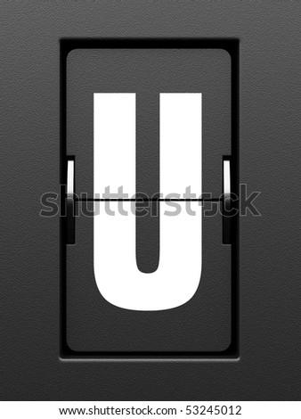 Letter U from mechanical scoreboard alphabet - stock photo