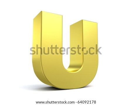 letter U from my golden collection - stock photo
