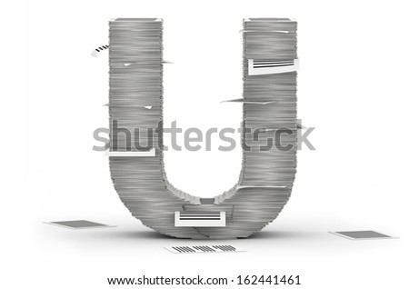 Letter U, from stacks of paper pages font - stock photo