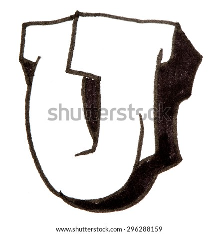 Letter U, hand drawn alphabet in graffiti style with a black fiber tip pen - stock photo